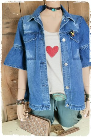 Esprit Veste en jean bleu coton