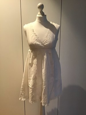 süßes kurzes weißes Sommerkleid Hängerchen Ibizastyle mit Spitze Fornarina Gr.36