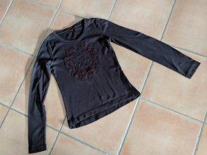Süßes Langarmshirt mit Pailletten dunkelbraun, Gr. 36, von s.Oliver