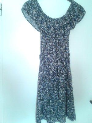 süßes leichtes Carmen Carmenkleidchen OFF SHOULDER Kleid floral mit Blümchen Blumen und lockerem Gürtel