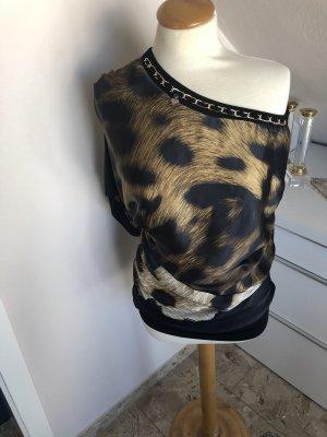 Camisa de un solo hombro negro-marrón