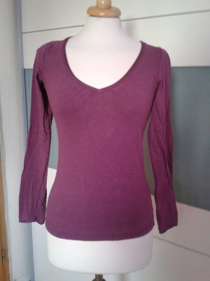 Süßes Longsleeve-Shirt mit gerafftem Ausschnitt in dunklem Purpur
