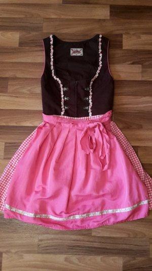 Süßes Mini Dirndl  rosa/braun/pink
