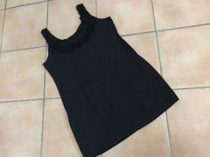 Süßes Minikleid schwarz mit Organzablumen Gr. 44 von H&M