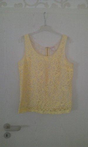 H&M Top de encaje amarillo pálido-blanco