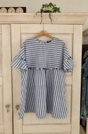 SheIn Peplum Dress azure-white