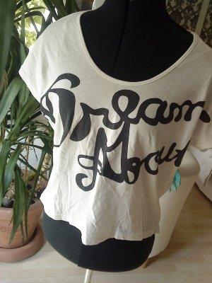 süßes Oversized Shirt weiß mit schwarzem Druck M