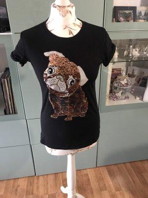 Süßes Pailletten Mops T-Shirt