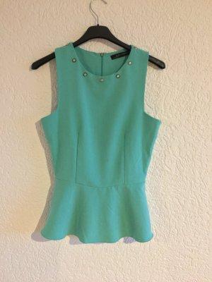 Süsses peplum shirt oberteil bluse schößchen von zara türkis grün nieten gr. 34/36
