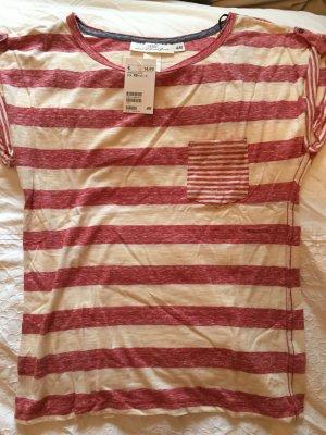 H&M Camisa de rayas beige claro-rojo