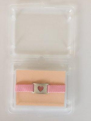 Süßes Rosa Armband mit Plakette aus Silber und Herz in Geschenkbox Vintage