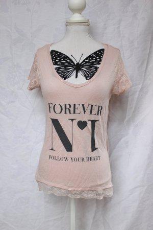 süßes rosa Shirt, Spitze Gr. M