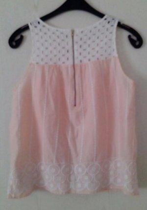 süßes rosa- weißes spitzentop