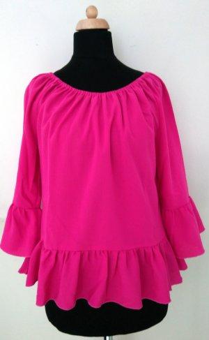 Top épaules dénudées magenta-rose fluo coton