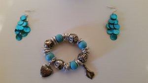 Süßes Set, verspieltes Armband + Ohrringe, türkies