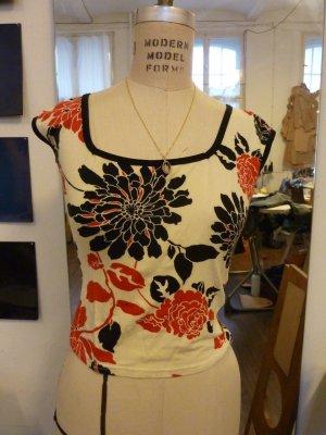 Süßes Shirt Blumenornament Rot/Schwarz Weiß