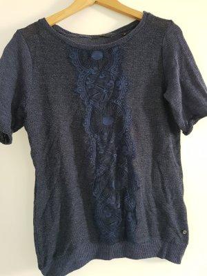 Zero Gebreid shirt staalblauw