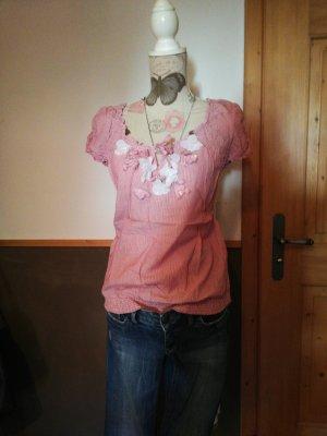 süsses Shirt s. oliver rot weiss gestreift mit blumen Gr. 40