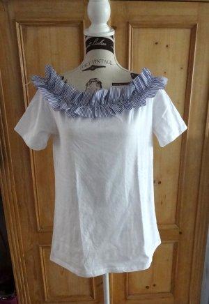 Asos Top extra-large blanc-bleu coton
