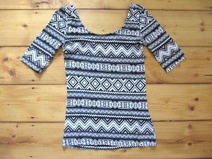 Süßes Shirt von H&M Schwarz & Weiß Ethno Style Hippie BoHo