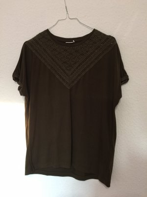 Only Top de ganchillo caqui-gris verdoso