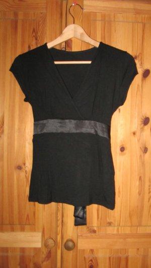 Süßes Shirt von Orsay, schwarz mit Satinband zum Binden – Gr. M