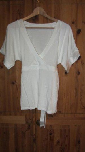 Süßes Shirt von Orsay, weiß mit Satinband zum Binden – Gr. M