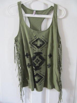 Süßes Sommer Shirt Top Oliv Grün Khaki Fransen Hippie