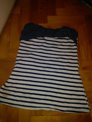 Haut type corsage blanc-bleu foncé coton