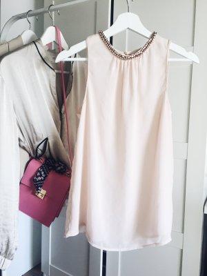 Süßes Sommer top mit Edelsteinen rosa altrosa zara