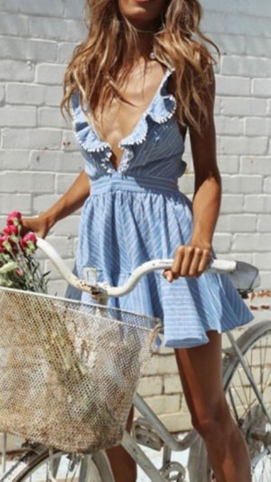 Vestido blanco-azul