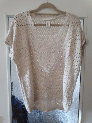 H&M Top en maille crochet beige clair