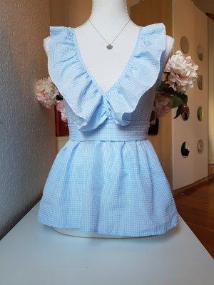 SheIn Top à volants blanc-bleu azur tissu mixte