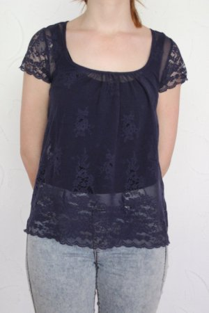 süßes Spitzen Shirt/T-shirt blau XS Amisu kaum getragen