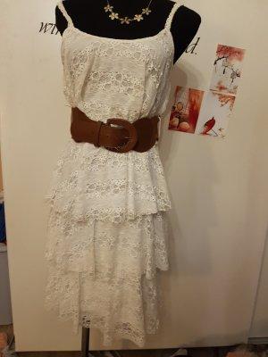 ♡ süßes spitzenkleid in weiß mit oder ohne gürtel