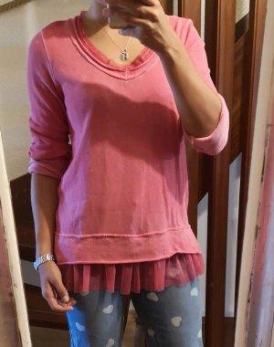 süsses spitzenshirt in rosa pulli pullover Gr. 34-38
