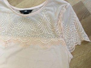 Süsses spitzentop tshirt oberteil bluse blogger rose von h&m