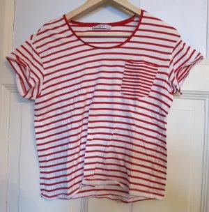 süßes Streifen T-Shirt in Rot/Weiß, Gr.36