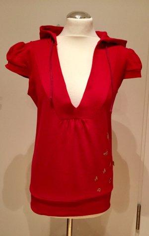 Süßes Sweatshirt mit kurzen Puffärmeln Rot mit Golddruck Gr M