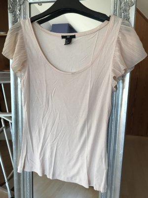 süßes T-Shirt in pastellrosa mit Flatterärmeln