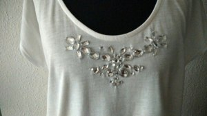 Süßes T-Shirt mit Schmucksteinen in Weiß, Gr. M, nur einmal getragen