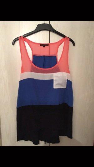 Süßes Top leichte Bluse Gestreift Marine Neon Blogger Mode Sommer Style
