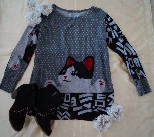 süßes Top, Pullover, Tunika mit Kazenmotiv, One Size
