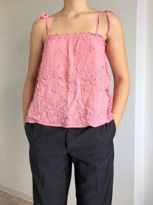 Süßes Trägerhemd von H&M in rosa mit Blumenstickerei