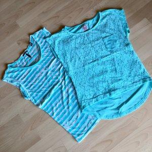 Süßes türkises Shirt von Yumi mit Spitze + gestreiftes Maison Scotch Shirt