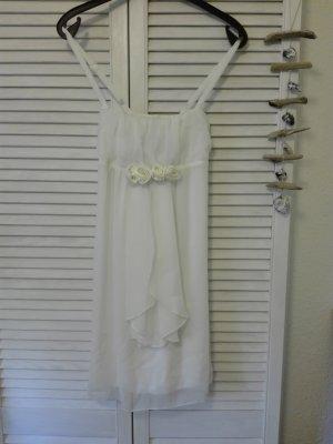 Süßes weißes Kleid mit Satinrosen - Neu mit Etikett