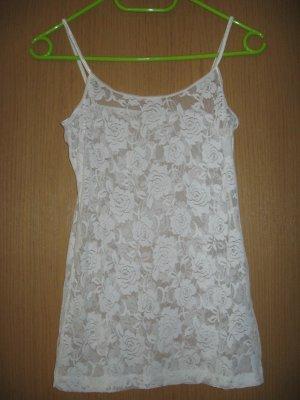 Süßes weißes Top, durchsichtig mit Spitze