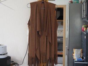 Janina Fringed Vest cognac-coloured polyester