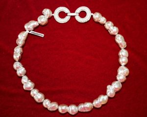 Collar estilo collier blanco-color plata plata verdadero
