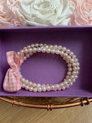 Süßwasserperlen Armband mit rosa Schleife